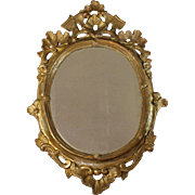 Antique French Oval Gold Leaf over Wood Carved Mirror 18th C