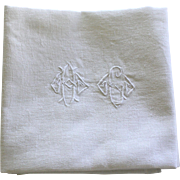 Set of Twelve Antique French Linen Napkins Monogrammed H G