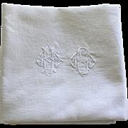 Set of Twelve Antique French Linen Napkins Monogrammed H G