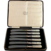 English Silverplate and MOP Butter Knife Set for 6 with Box Silver Plate