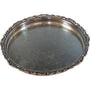 Large Vintage Round Silverplate Gallery Tray Silver Plate