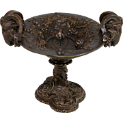 Vintage French Bronze Ram's Head Tazza Dish
