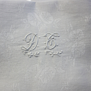 Eight Antique French Linen Napkins Monogram D G