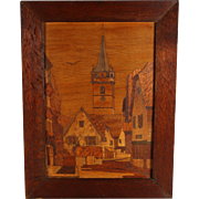 Antique Alsatian Marquetry Panel of the Town Obernai