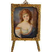 Antique Miniature Painting of a Young Girl in Gilded Filigree Frame