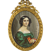 Miniature Painting of a Young Lady with a Bible in Bow-top Frame 19th century