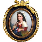 19th C Miniature Painting on Porcelain of a Young Girl Bow top Frame
