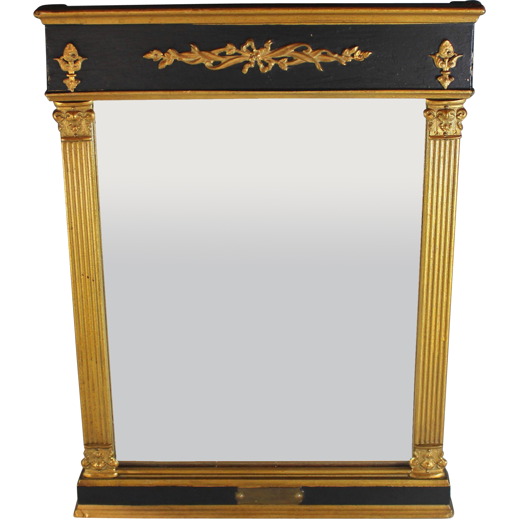 antique empire tabernacle mirror with gilt and black. Black Bedroom Furniture Sets. Home Design Ideas