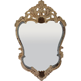 Antique French Sculpted Wooden Mirror Distressed Paint