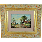 Oil on Board Impressionist Landscape Painting Belgian School
