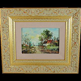 Oil on Board Impressionist Landscape Painting Belgian School