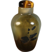 Fine 19thC Chinese Shadow Agate Snuff bottle Tigers' Eye Stopper