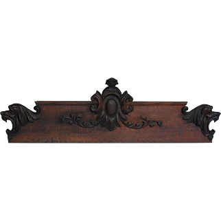 Antique Hand Carved Wood Wooden Pediment Overdoor with Lion's Heads