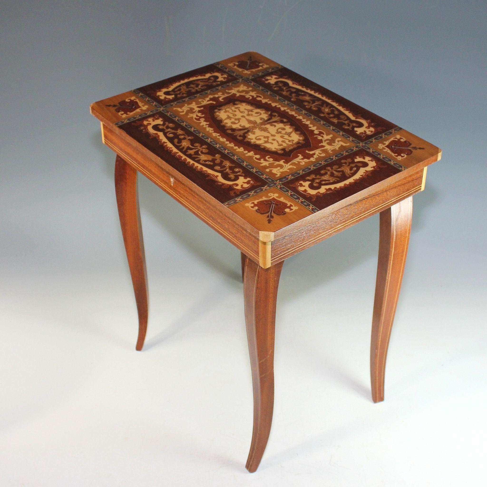 Vintage Sorrento Ware Inlaid Marquetry Music Box Side
