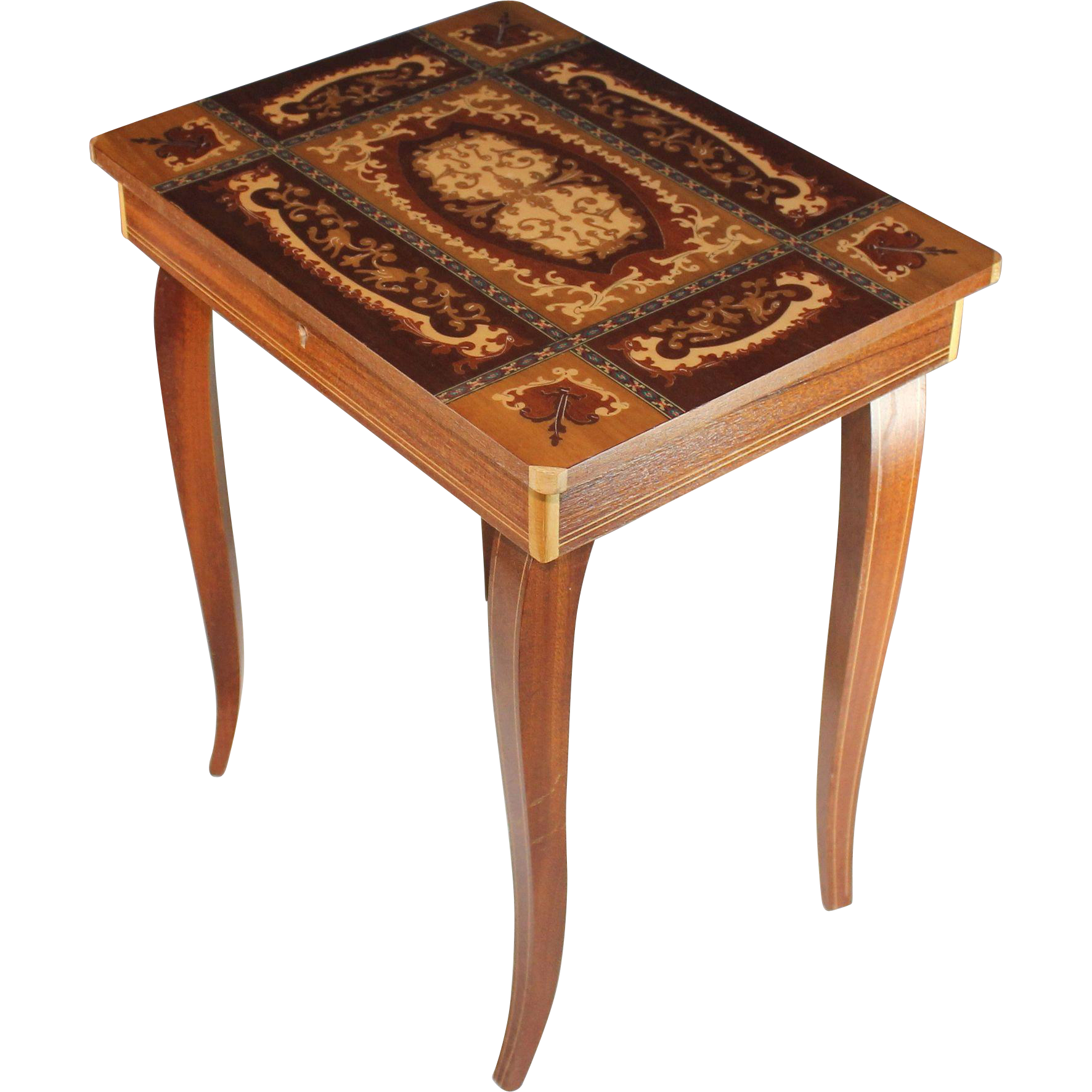 Vintage Sorrento Ware Inlaid Marquetry Music Box Side Table from
