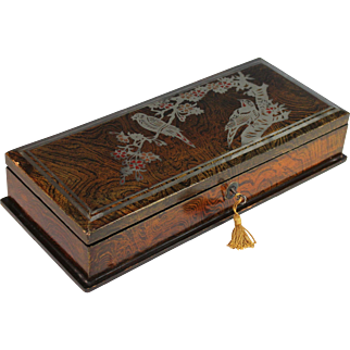 Vintage Japanese Lacquer Box with Bird Decoration and Lock