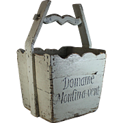 Antique French Moulin-a-vent Wood Wine Grape Bucket
