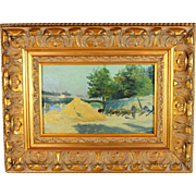 Oil on Panel Painting of a Paris view of the Pont Des Arts- French School