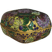 Old Chinese Gilt Metal and Champleve Enamel Round Box with Cloisonné Bottom