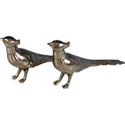 Pair of Vintage Silverplate Pheasant Salt and Pepper Shakers