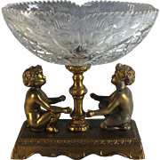 Antique Crystal and Gilt Metal Center Piece Putti