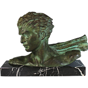 Bronze Sculpture of a Bust of a Man in Profile inscribed H. Gauthier