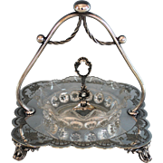 Darling Silverplate Condiment/Caviar Dish with Glass Insert Silver Plate