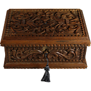 Unique Hand Carved Dresser or Desk Box with Key and Hidden Entrance