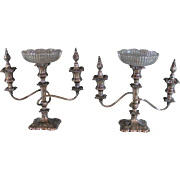 Pair Antique Silverplate Three arm Candelabra with Candle Inserts