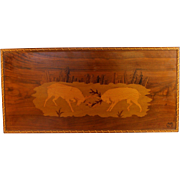 Vintage Cabin Art Marquetry Panel Two Elks Sparring