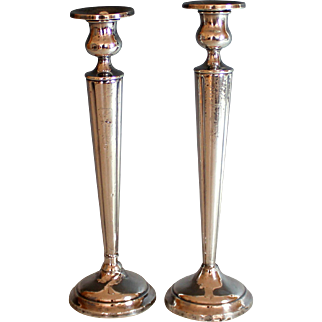 Pair of Vintage Sterling silver Candle Sticks Weighted