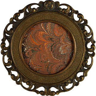 Antique Round Bronze Picture Photo Frame Open worked Edge