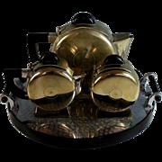 Art Deco Silverplate Tea Set with Bakelite Handles Silver Plate Tray