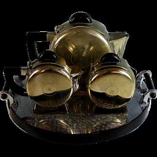 Art Deco Silverplate Tea Set with Bakelite Handles Silver Plate