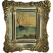 Miniature Oil Painting of a Sailing Ship 19c