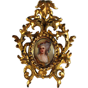 Antique Hand Painted Miniature Princesse De Lamballe Great Frame
