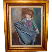 Oil on Board Painting of a Young Child by Listed Artist Jean Craig (American 1915-2010)