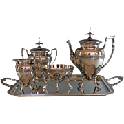 Aesthetic Period Silverplate Tea Set with Tray, Meriden