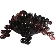 Vintage Purple Hand Blown Glass Bowl with Glass Grape Clusters