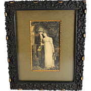 Antique Engraving of a Young Couple Gute Percha Frame