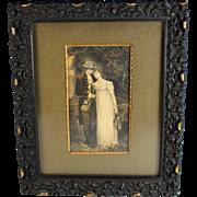 Antique Engraving of a Young Couple Gute Percha Frame