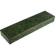 Vintage Chinese Cloisonne Hinged Box Green Floral