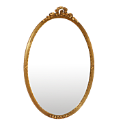 Antique Oval Gilded Wood Frame with Laurel Top