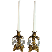 Vintage gilded Metal and Tear Drop Crystals Candle Holders