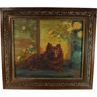 """Oil on canvas painting of Grand Champion Pomeranian titled """"Golden Blossom"""" by G.A Hacker"""