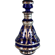Cobalt Blue Glass Decanter with Silver Overlay