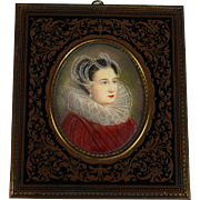 19th Century Miniature Portrait of Mary Stuart, Queen of Scots in Beautiful frame