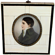 Antique Miniature Portrait of Lucien Bonaparte in Beautiful Frame