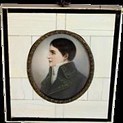Antique Miniature Portrait of Lucien Bonaparte in Beautiful Frame