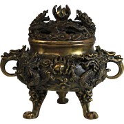 Antique Chinese Bronze Dragon Censer with Lid and Lotus Flower, Jade